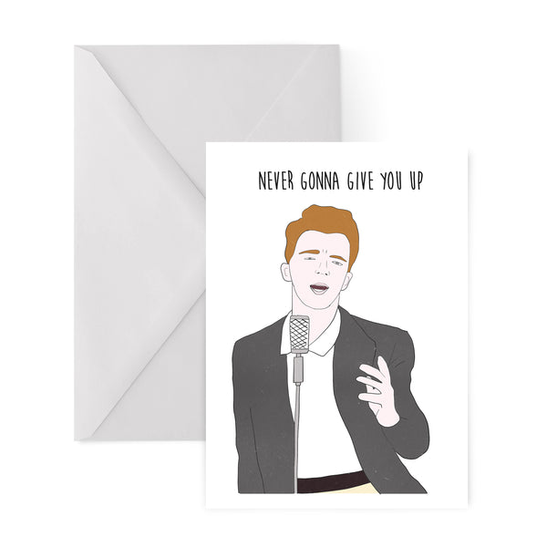 RICK ASTLEY never gonna give you up 80S GREETINGS CARD from LA LA LAND