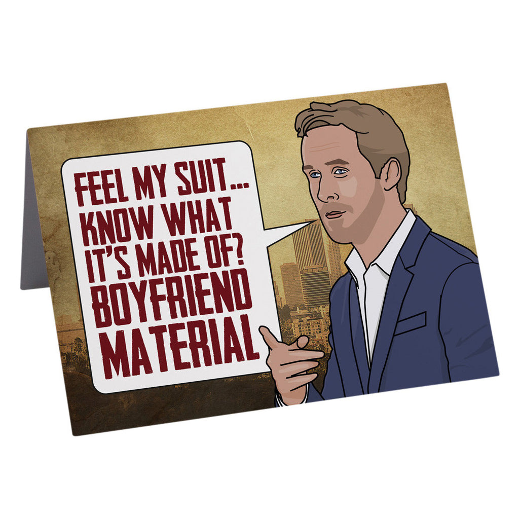 RYAN GOSLING boyfriend material greetings card from LA LA LAND