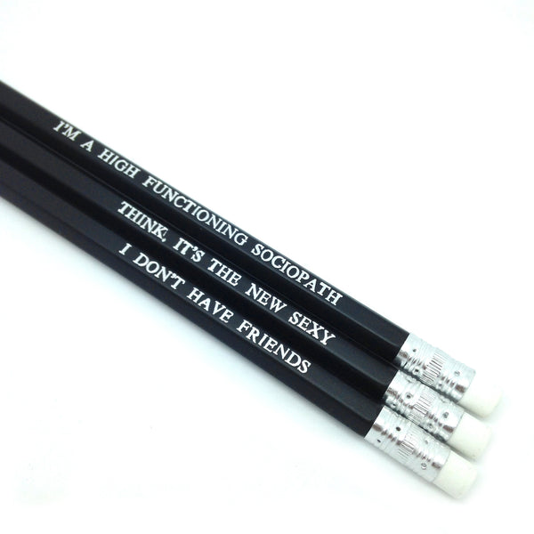 Sherlock Benedict Cumberbatch Hand Stamped Slogan POPCULT Pencil Set from LA LA LAND