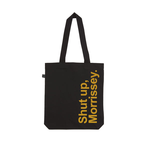 SHUT UP MORRISSEY black and gold tote bag by VERITY LONGLEY x LA LA LAND