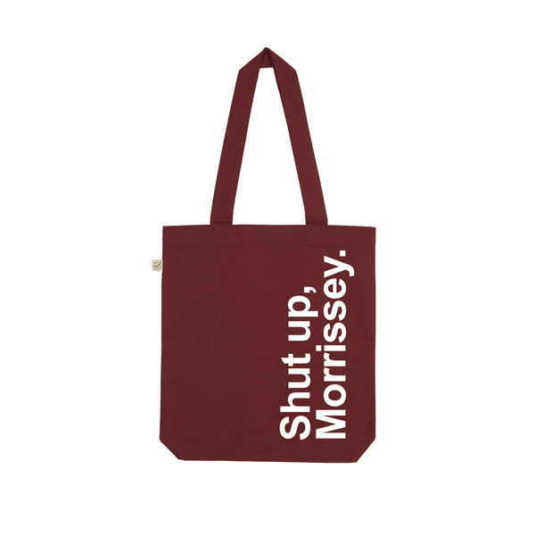 SHUT UP MORRISSEY maroon and white tote bag by VERITY LONGLEY x LA LA LAND