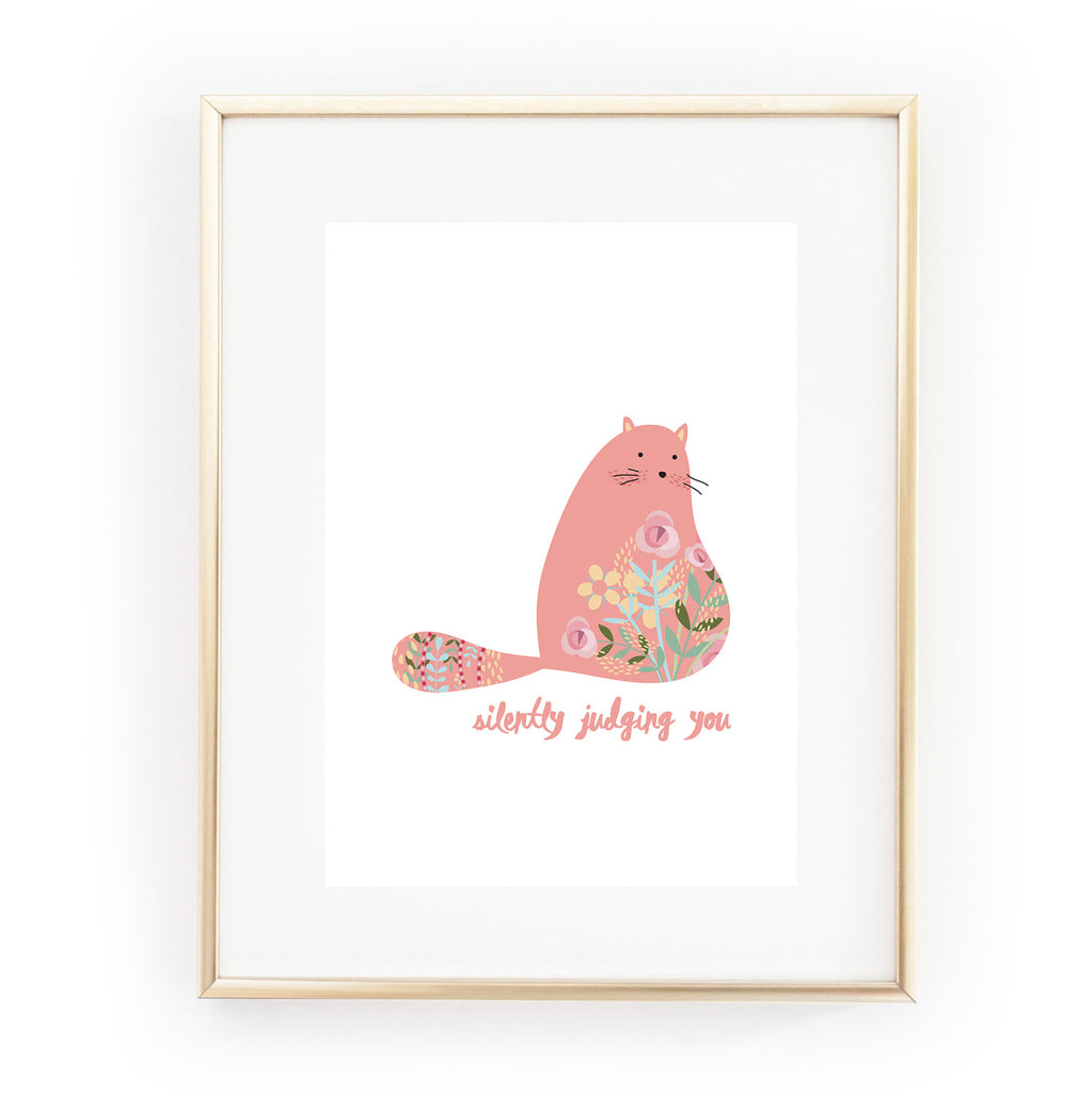 SILENTLY JUDGING YOU cat A4 art print from LA LA LAND crazy cat lady