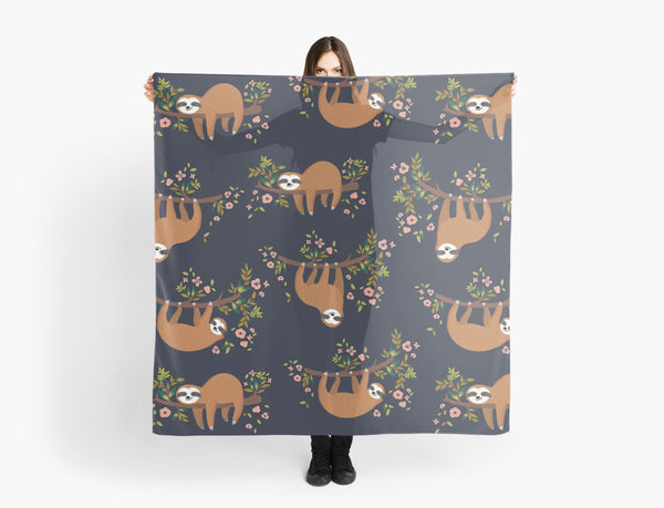 SLOTH eat sleep sloth repeat NAVY FLORAL chiffon scarf from LA LA LAND