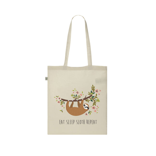 SLOTH EAT SLEEP SLOTH REPEAT FLORAL TOTE BAG from LA LA LAND