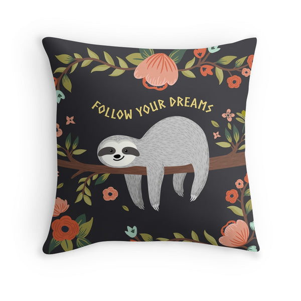 SLOTH follow your dreams FLORAL cushion from LA LA LAND