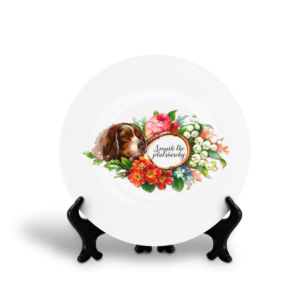 SMASH THE PLATRIARCHY feminist floral slogan dinner plate from LA LA LAND