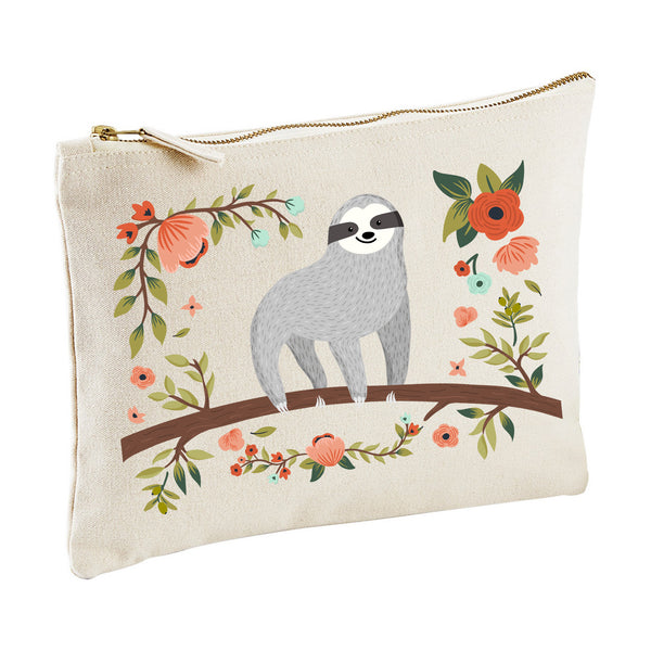 Sloth zippy pouch clutch canvas MAKE UP BAG pencil case from LA LA LAND