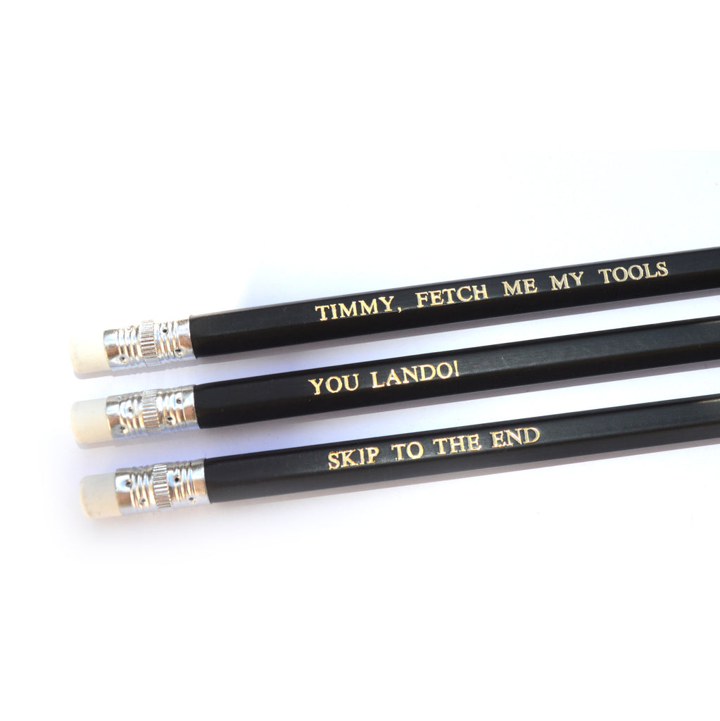 Spaced Simon Pegg Hand Stamped Slogan POPCULT Pencil Set from LA LA LAND