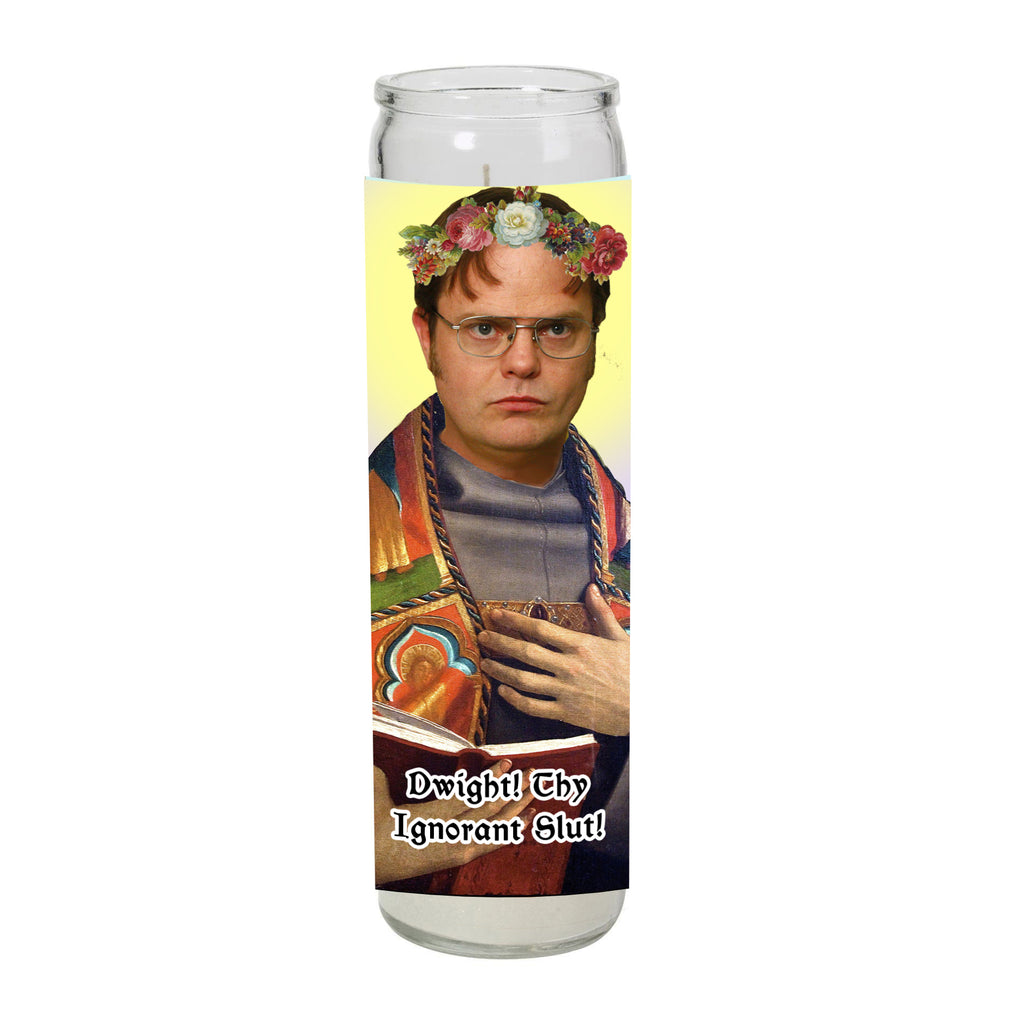 THE OFFICE dwight schrute DWIGHT! YOU IGNORANT SLUT! prayer candle SAINT religious celebrity from LA LA LAND