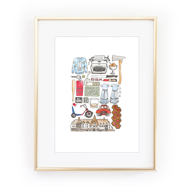THE SHINING flat lay illustration A4 art print by FLAT LAY DESIGN from LA LA LAND-Recovered