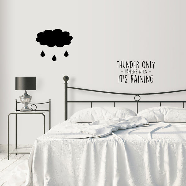 THUNDER ONLY HAPPENS WHEN IT'S RAINING dreams fleetwood mac lyrics BLACK WALL DECALS by LA LA LAND with packaging SCREEN