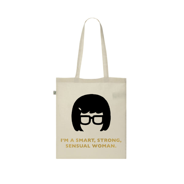 TINA BELCHER gold vinyl bob's burgers I'M A SMART, STRONG, SENSUAL WOMAN tote bag from LA LA LAND