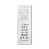 TOM HARDY marble text slogan quote CBEEBIES bedtime stories story BOOKMARK BOOK MARK from LA LA LAND