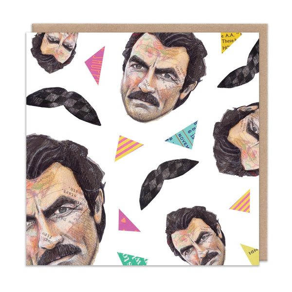 TOM SELLECK moustache MAGNUM PI greetings card by Angie Beal from LA LA LAND