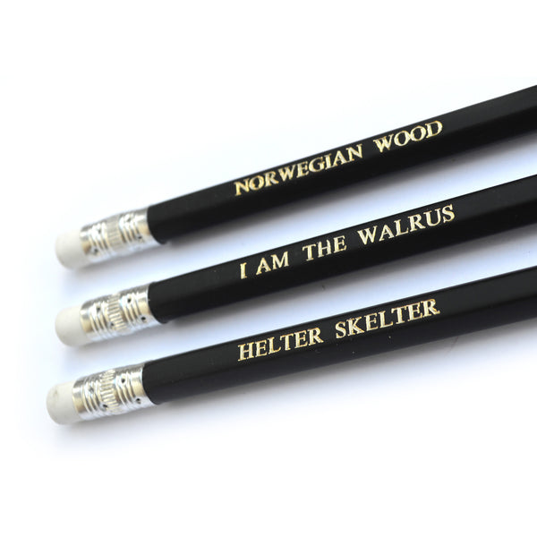 The Beatles Hand Stamped Slogan POPCULT Pencil Set from LA LA LAND