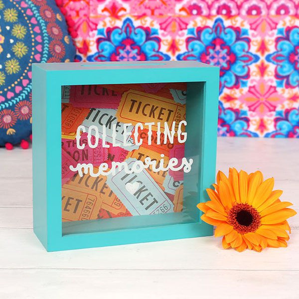 Turquoise COLLECTING MEMORIES Festival gig travel ticket display box from LA LA LAND