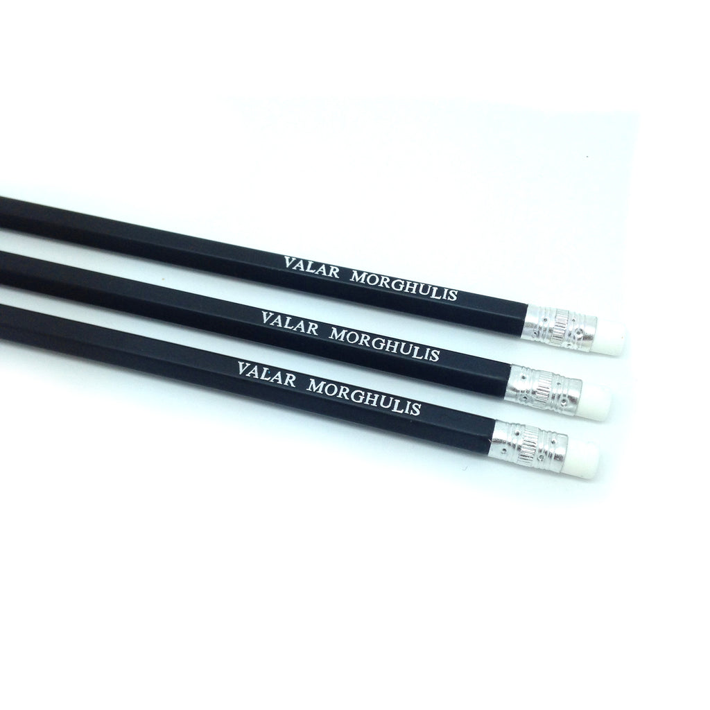 VALAR MORGHULIS Game of Thrones hand stamped slogan quote pencil sets by POPCULT PENCILS from LA LA LAND