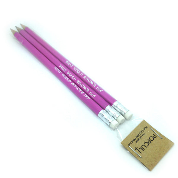 What Would Beyonce Do? hand stamped slogan Pencil Set by POPCULT from LA LA LAND