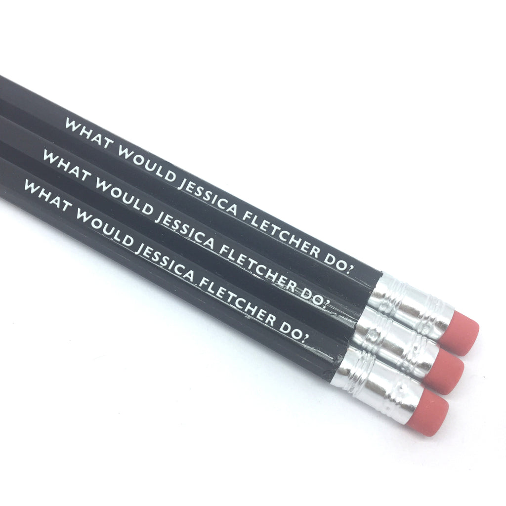 WHAT WOULD JESSICA FLETCHER DO? murder she wrote... ANGELA LANSBURY hand stamped slogan pencils from LA LA LAND