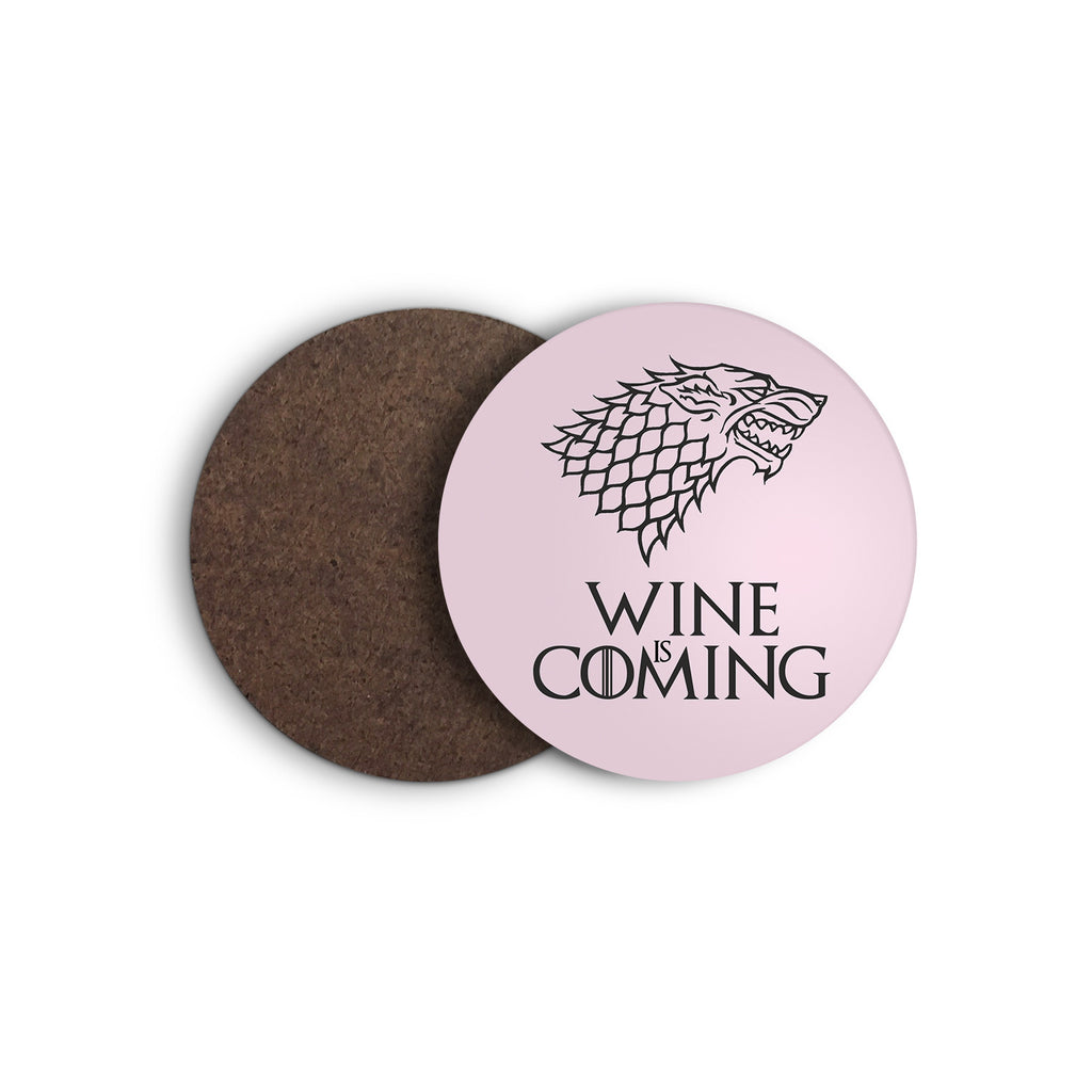 WINE IS COMING game of thrones STARK direwolf COASTER from LA LA LAND