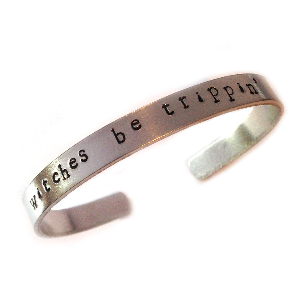 Witches Be Trippin' The Coven hand stamped bangle from LA LA LAND