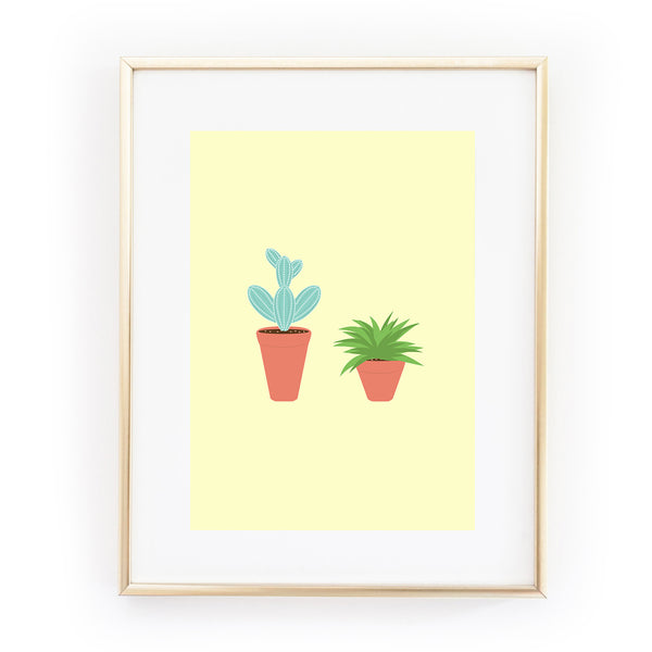 YOU AND ME cactus succulent plants ART PRINT from LA LA LAND