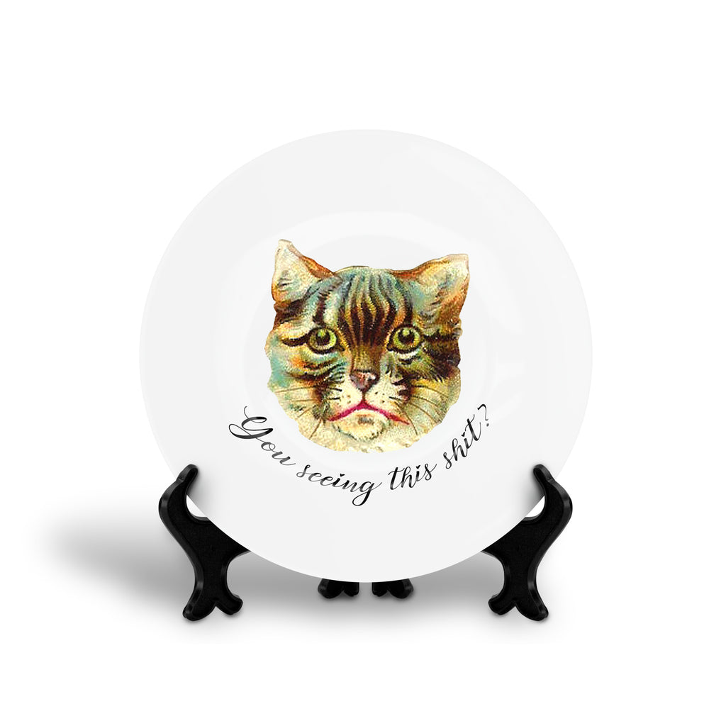 YOU SEEING THIS SHIT? cat funny floral slogan dinner plate from LA LA LAND