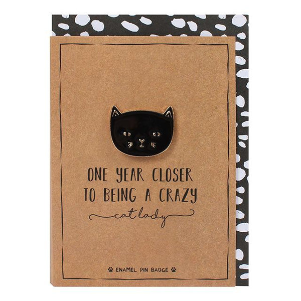 cat enamel pin badge greetings card from LA LA LAND