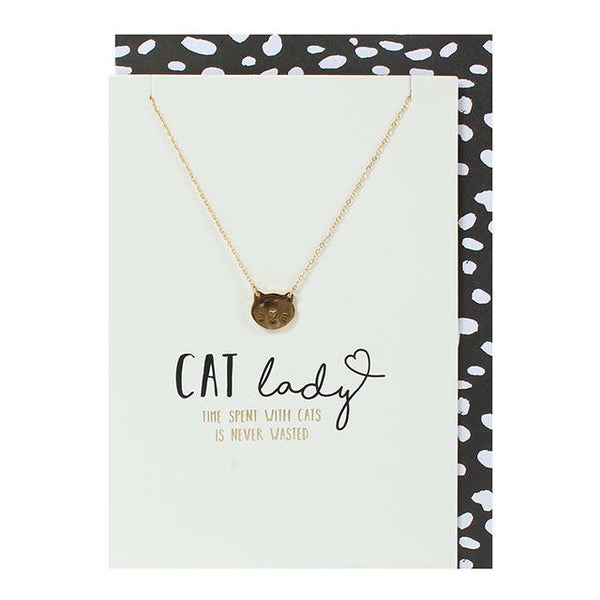 CAT LADY Gold Charm Necklace Greetings Card