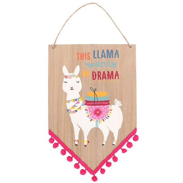 drama llama wooden pom pom banner chevron pennant wall hanging sign from LA LA LAND