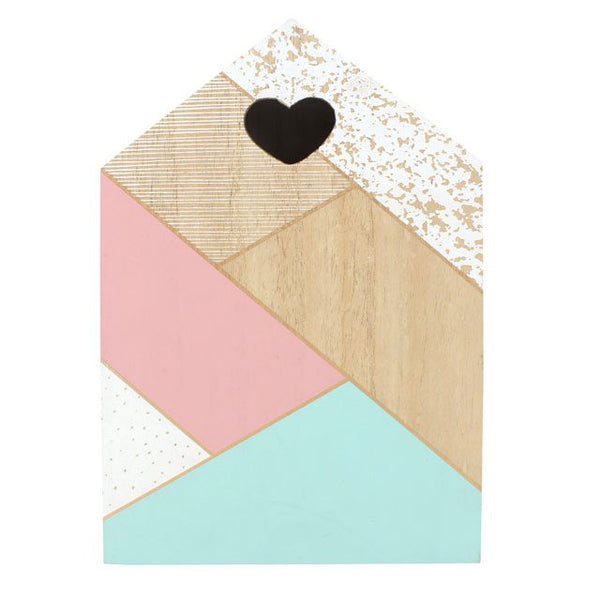 pastel painted wooden geometric keybox with loveheart hole from LA LA LAND