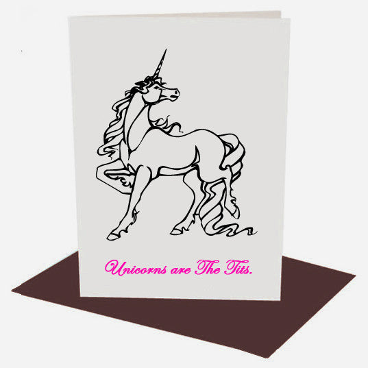UNICORNS ARE THE TITS funny cute Greetings Card from LA LA LAND