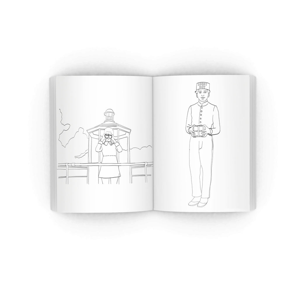 wes anderson colouring book from LA LA LAND