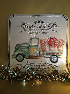 Flower Market Tin Sign