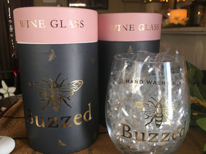 Wine Glass with Bee