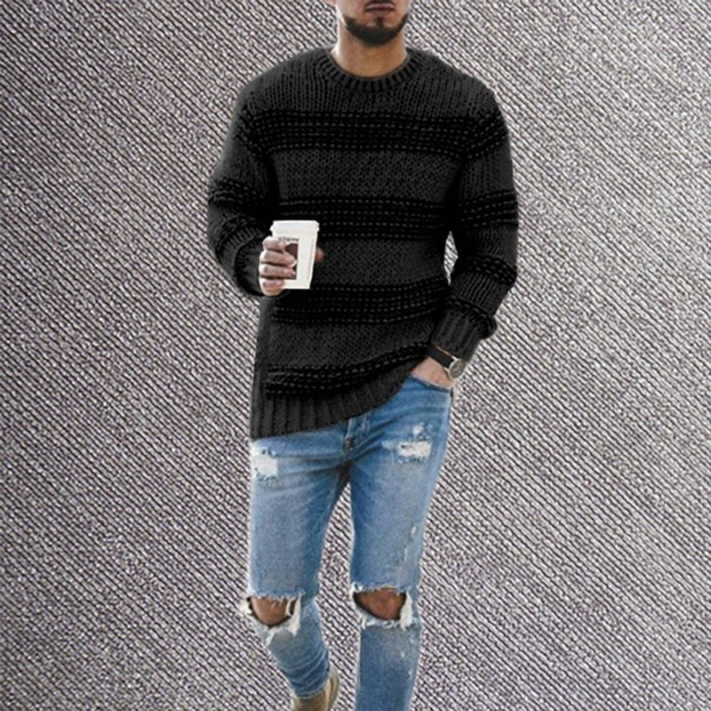 Mens Casual Striped Sweater