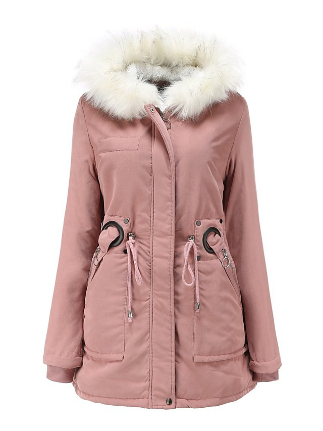 Detachable hood fur collar winter warm plus fleece coat