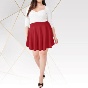 Stretch High Waist Tummy Control Plus-Size Flared Skirt