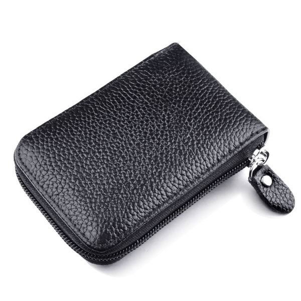 RFID Blocking Multi-function Zipper Leather Card Bag