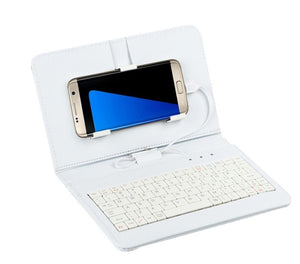 General Wired Keyboard Flip Holster Case For Andriod Mobile Phone 4.2''-6.8'' 20A Drop Shipping