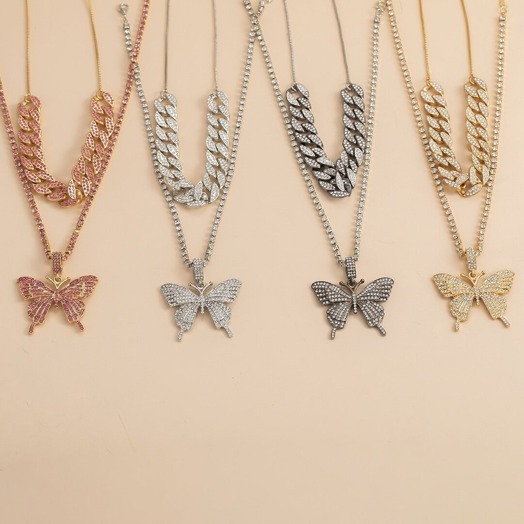 Vintage Set Big Butterfly Necklace