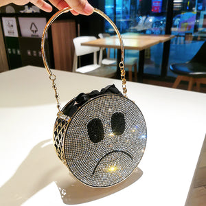 Double Sided Diamond Smiley Face Mini Circular Dinner Bag