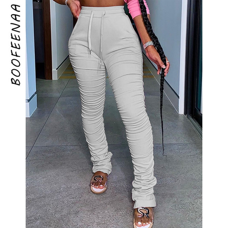 Women Sweatpants Extra Long Stacked Pants Winter Thick Warm Pants