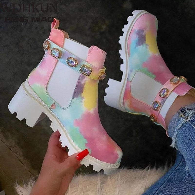 Tie-dye colorful rhinestone boots