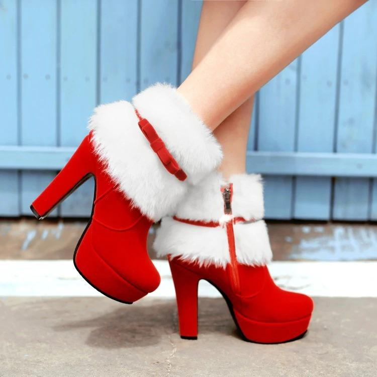 Red Christmas Bow Boots