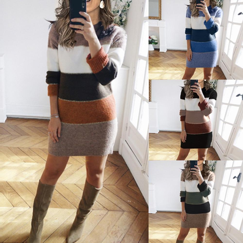 Colorblock stitching knitted dress