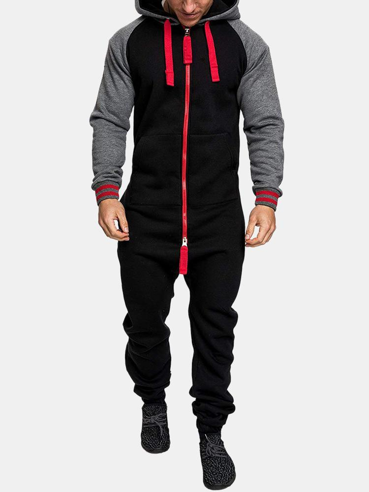 Mens Overall Double Open Zip Up Drawstring Hooded Sport Jogger Sweatsuit Jumpsuit
