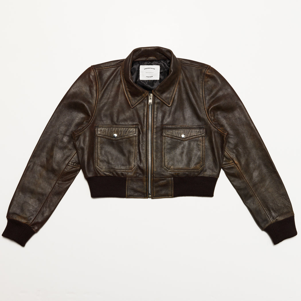 SPIRIT BOMBER IN DISTRESSED BROWN
