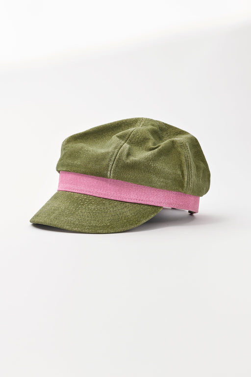 Two Tone Suede Lieutenant Hat - Military Green