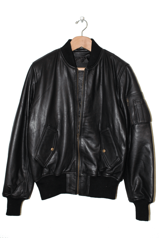 MENS LEATHER MA-1 BOMBER JACKET